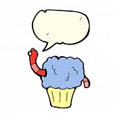 pic of worm  - cartoon worm in cupcake with speech bubble - JPG