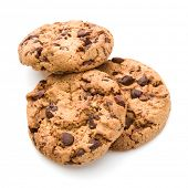 stock photo of cookie  - Chocolate cookies isolated on white background cutout - JPG