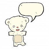 pic of bear-cub  - cartoon teddy polar bear cub with speech bubble - JPG