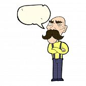 image of angry man  - cartoon angry old man with speech bubble - JPG