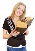 pic of librarian  - Portrait of a young attractive blondy librarian woman reading a book - JPG