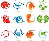 stock photo of zodiac sign  - Glowing zodiacs isolated on a white background - JPG