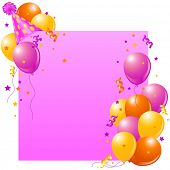 stock photo of birthday hat  - Pink birthday card with balloons - JPG