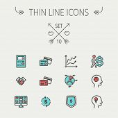 stock photo of line graph  - Business thin line icon set for web and mobile - JPG