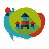 pic of prism  - Brick House Flat Icon With Long Shadow - JPG