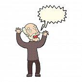 stock photo of terrifying  - cartoon terrified old man with speech bubble - JPG