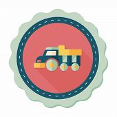 picture of dump_truck  - Dump Truck Flat Icon With Long Shadow - JPG