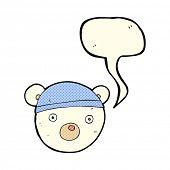stock photo of bear-cub  - cartoon polar bear cub wearing hat with speech bubble - JPG