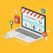 stock photo of isometric  - online shopping concept 3d isometric infographic with laptop showing website - JPG