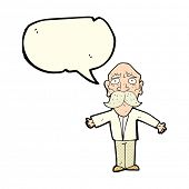 stock photo of disappointed  - cartoon disappointed old man with speech bubble - JPG