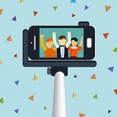 stock photo of selfie  - trendy selfie concept 3d isometric infographic with a selfie stick taking picture - JPG