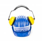 image of muff  - Glasses hard hat and ear muffs - JPG
