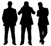 picture of boring  - Set of bored businessmen in three different poses - JPG