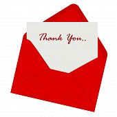 picture of politeness  - Thank you note inside a red envelope illustration isolated on white background - JPG