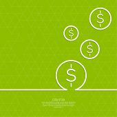image of revenue  - Abstract green background with triangles and falling coins - JPG