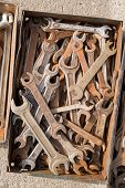foto of locksmith  - Old locksmith tools are in a old metal box - JPG