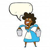 stock photo of milkmaid  - cartoon milkmaid carrying buckets with speech bubble - JPG