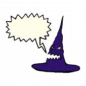 picture of crazy hat  - cartoon spooky witches hat with speech bubble - JPG