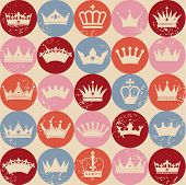 stock photo of crown jewels  - Seamless abctract crowns pattern - JPG