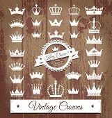 stock photo of crown jewels  - Crowns vintage set - JPG