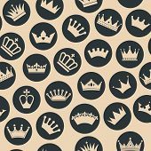 picture of crown jewels  - Retro seamless pattern of  crowns - JPG