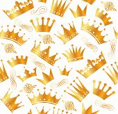 foto of crown jewels  - Retro seamless pattern of  gold crowns - JPG