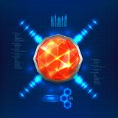 picture of gem  - Futuristic interface with red gem or luminous hemisphere - JPG