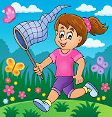 picture of chase  - Girl chasing butterflies theme image 2  - JPG