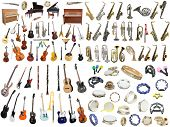 stock photo of wind instrument  - Different music instruments under the white background - JPG