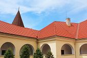 picture of yellow castle  - Yard of Palanok Castle  - JPG