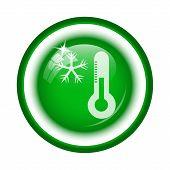 stock photo of fahrenheit thermometer  - Snowflake with thermometer icon - JPG