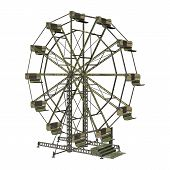 stock photo of ferris-wheel  - 3D digital render of a vintage ferris wheel isolated on white background - JPG