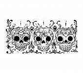 stock photo of day dead skull  - Hand drawn vector illistration or drawing of some skulls with flowers - JPG