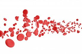 picture of red blood cells  - 3d illustration of red blood cells isolated on white background - JPG