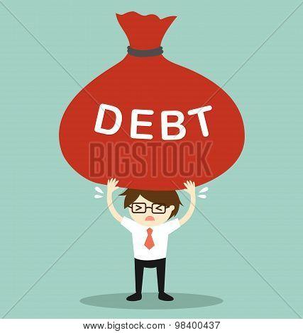 Business concept, Businessman holding big debt. Vector illustration.
