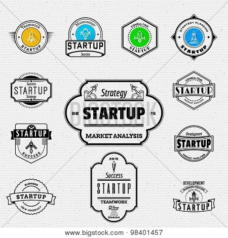 Startup badges logos and labels for any use.