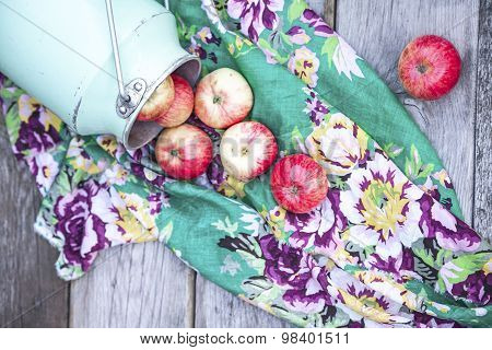 Organic Apples On Wooden Table