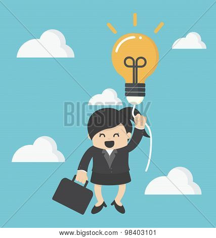 Business Woman With A Success Balloon Idea
