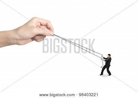 Businessman Pulling Rope Against Big Woman Hand