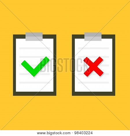 Yes and No Chek Mark sign ?n Clipboard Notebook Flat Design