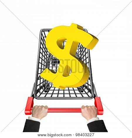 Hands Pushing Shopping Cart With 3D Golden Dollar Sign