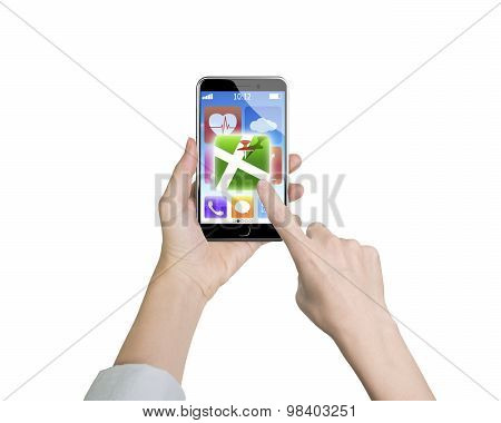 Woman Hand Holding Smart Phone Finger Touching Map Icon