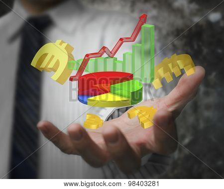 Businessman Hand Showing Business Growth Graph With Euro Signs