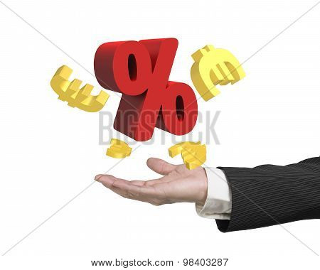 Man Hand Showing Red Percentage Sign With Golden Euro Signs