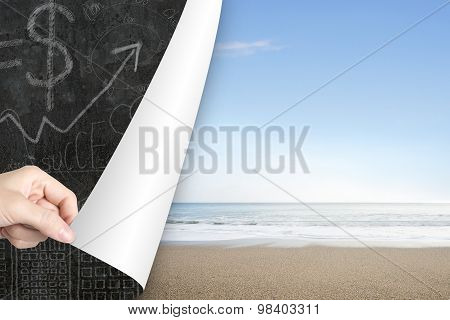 Woman Hand Open Sea Beach Page Replace Business Doodles