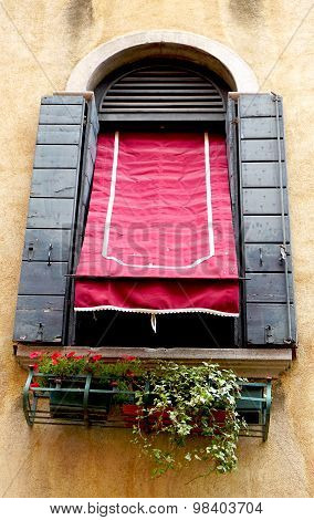 Window, Red Canopy And Old Wall