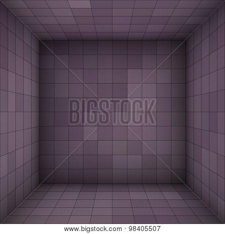 Empty Futuristic Room With Purple Walls And Subdivision