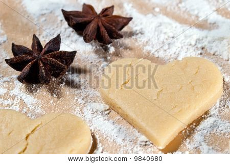 Heart Shape Gouged With Star Anise In The Flour