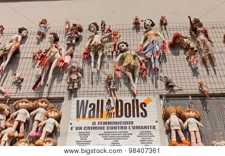 Wall Of Dolls Art Installation In Milan, Italy
