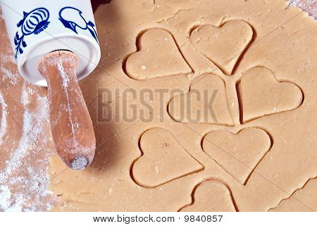 Rolling Pin With Many Gouged Heart Ramekins